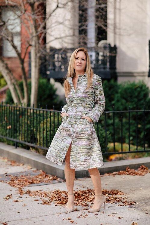 Silk Trench Dress in Proprietary Print