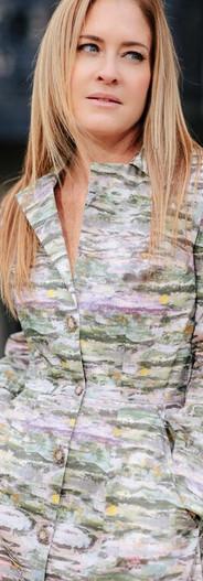 Proprietary Print Silk Trench Dress