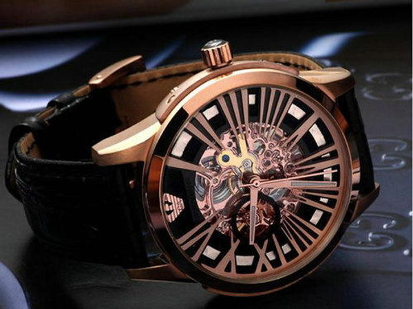 bc4a2f0afea6b Watch by Emporio Armani - Mens AR4629 Black Leather Skeleton Rose Gold Meccanico  Watch