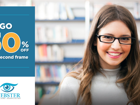 Buy One, Get One 50 % Off Your 2nd Set Of Frames - Expires 8/31