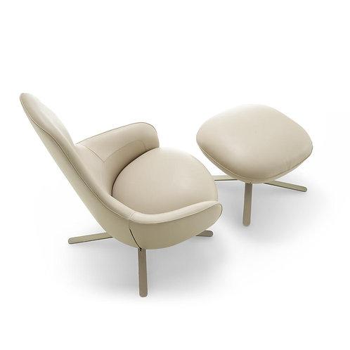 Moa High Back Swivel Chair & Ottoman (Black/Grey)