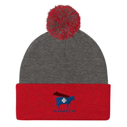 Red/Grey FAT Pom-Pom Beanie