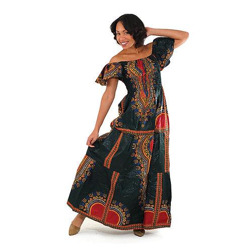 Traditional Print Elastic Princess Dress