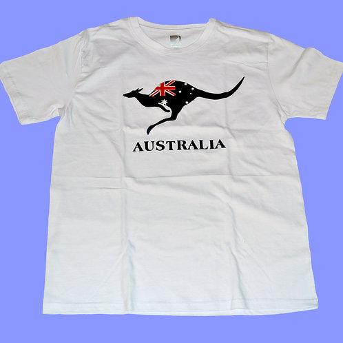 Unisex Souvenir T-shirt 100% cotton Australia Kangaroo with Au Flag