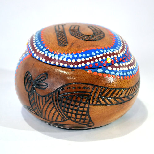 aboriginal Wooden Trinket Box Australian Made Timber Oval Shaped Hand Pa
