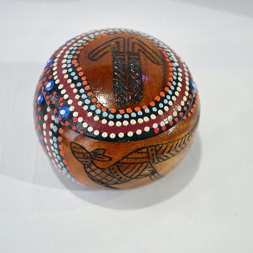 aboriginal Wooden Trinket Box Australian Made Timber Oval Shaped Hand Pa