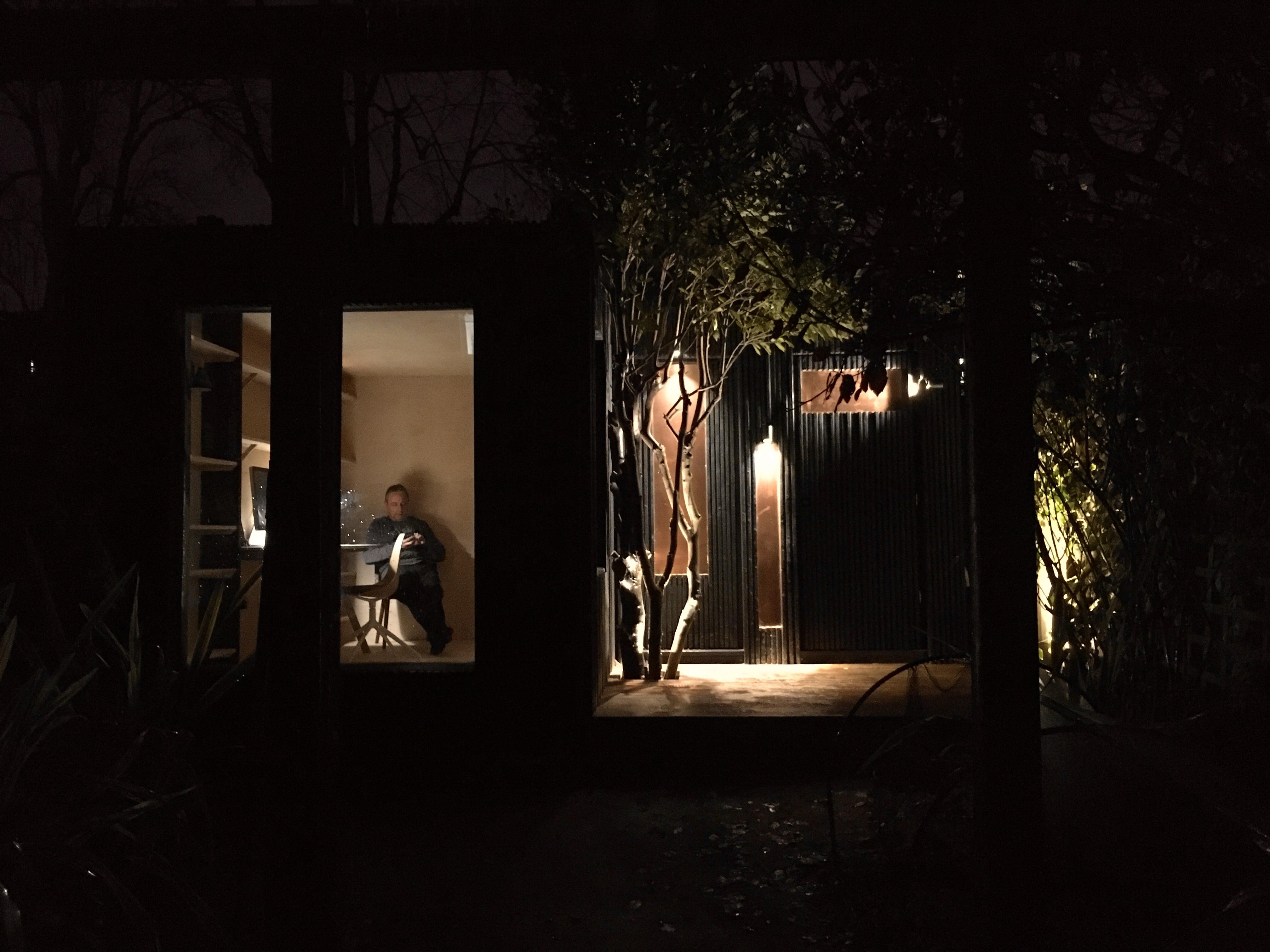 Summer house after dark
