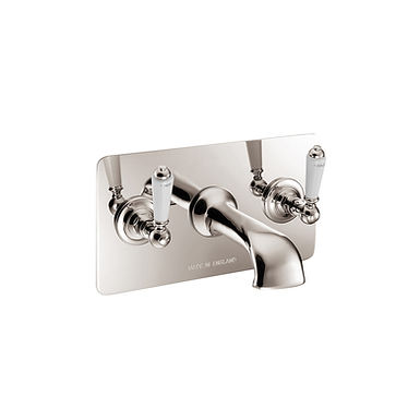 Wall Mounted Bath Mixer With Concealing Plate   Hurlingham