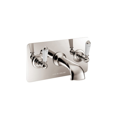 Nickel Wall Mounted Bath Filler with Concealing Plate | Hurlingham