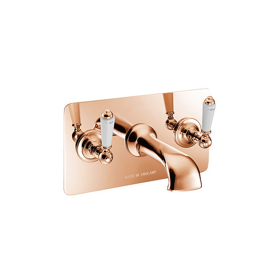 Copper Wall Mounted Bath Filler with Concealing Plate | Hurlingham