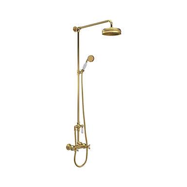 Brass Topaz Crosshead Deck Mounted Bath Shower Mixer   Hudson Reed