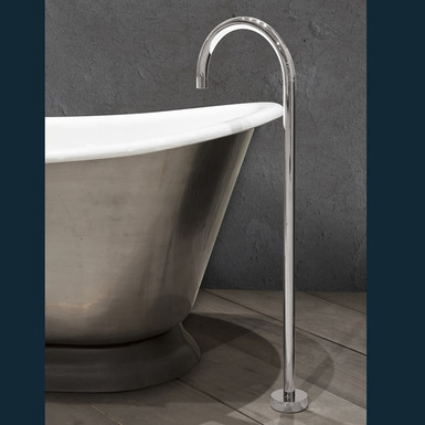 Nickel Floor Mounted Bath Spout | Hurlingham