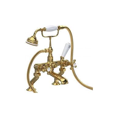 Brass Topaz Crosshead Deck Mounted Bath Shower Mixer | Hudson Reed