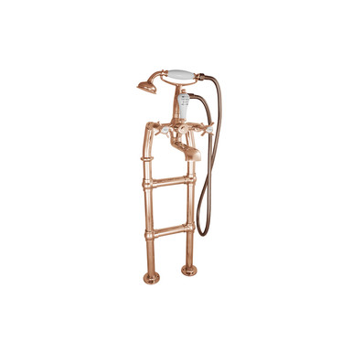 Copper Freestanding Bath Mixer Taps with Small Tap Stand | Hurlingham