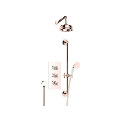 Dawlish Recessed Shower with Fixed Head and Flexible Riser Kit | Heritage