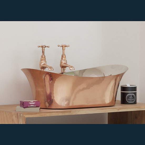 Copper Bateu Basin with Nickel Interior | Hurlingham