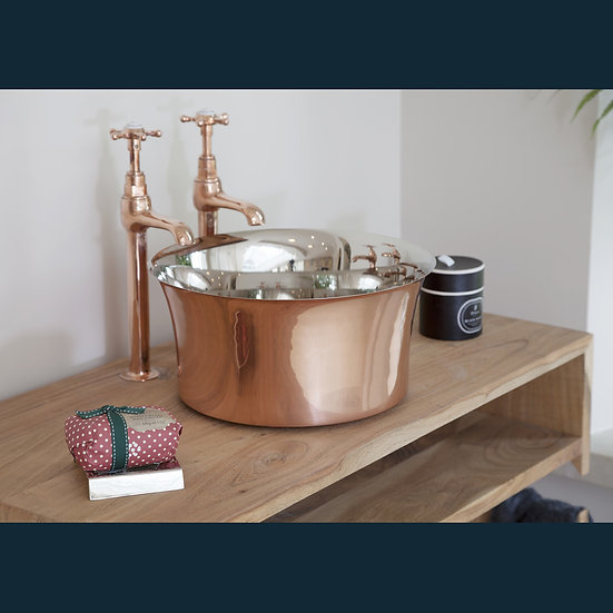 Copper Tub Basin with Nickel Interior | Hurlingham