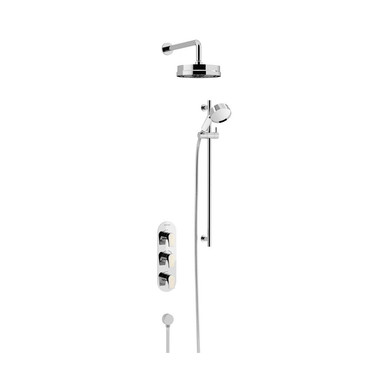 Lyminton Recessed Shower Valve with Lace Handles, Fixed Head & Flexible Riser