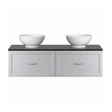 Caversham Dual Basin Wall Hung Vanity Unit Single Drawer | Heritage