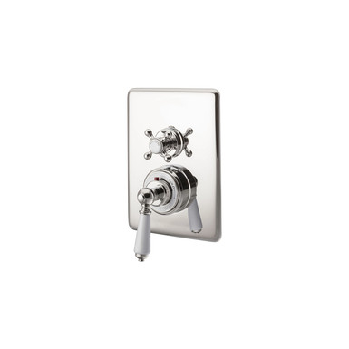 Nickel Concealed Dual Control Thermostatic Shower Valve | Hurlingham