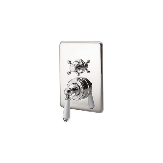 Nickel Concealed Dual Control Thermostatic Shower Valve | Hurlingham