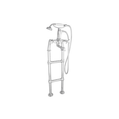 Chrome Freestanding Bath Mixer Taps with Large Tap Stand | Hurlingham