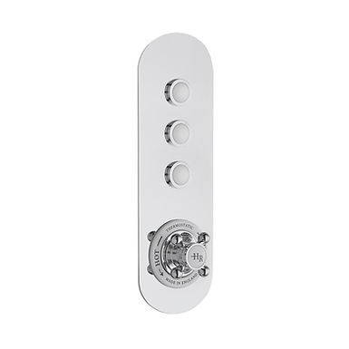 Chrome Topaz Thermostatic Push Button Three Outlet Valve | Hudson Reed