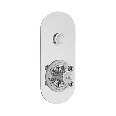 Chrome Topaz Push Button Thermostatic One Outlet Valve   Hudson Reed