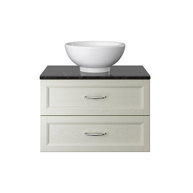 Caversham Wall Hung Vanity Unit Two Drawer with Worktop   Heritage