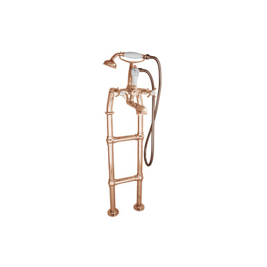 Copper Freestanding Bath Mixer Taps with Large Tap Stand | Hurlingham