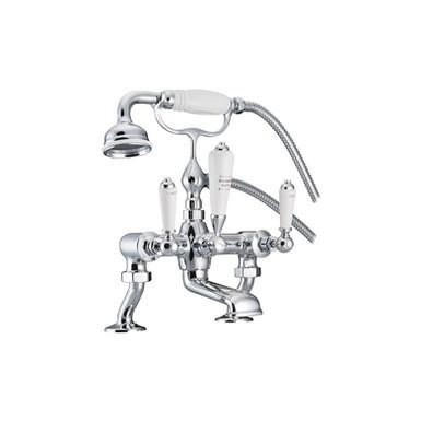 Chrome Bath Mixer Taps with Cranked Legs | Hurlingham