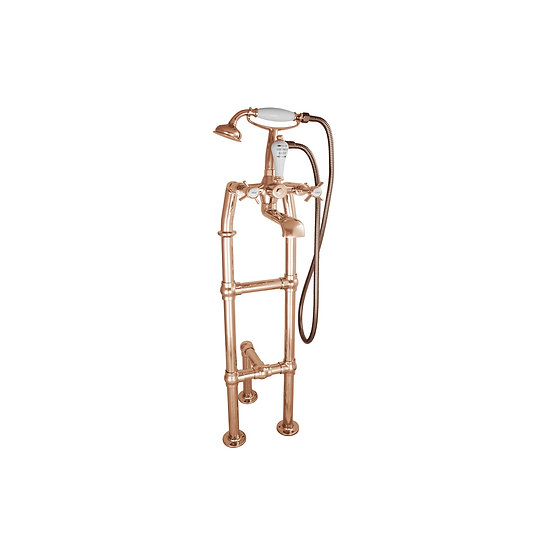 Copper Freestanding Bath Mixer Taps with Small Tap Stand & Support | Hurlingham