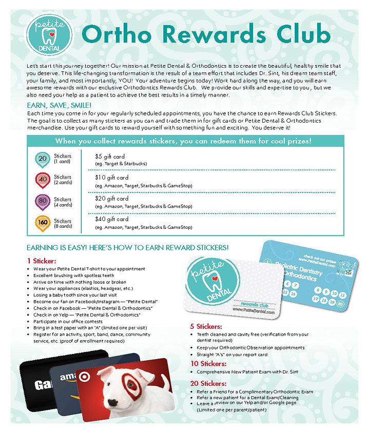 Ortho Rewards Club Flyer