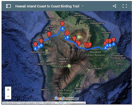 Big Island birding trail map