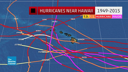 Historical paths of Hawaii Hurricanes