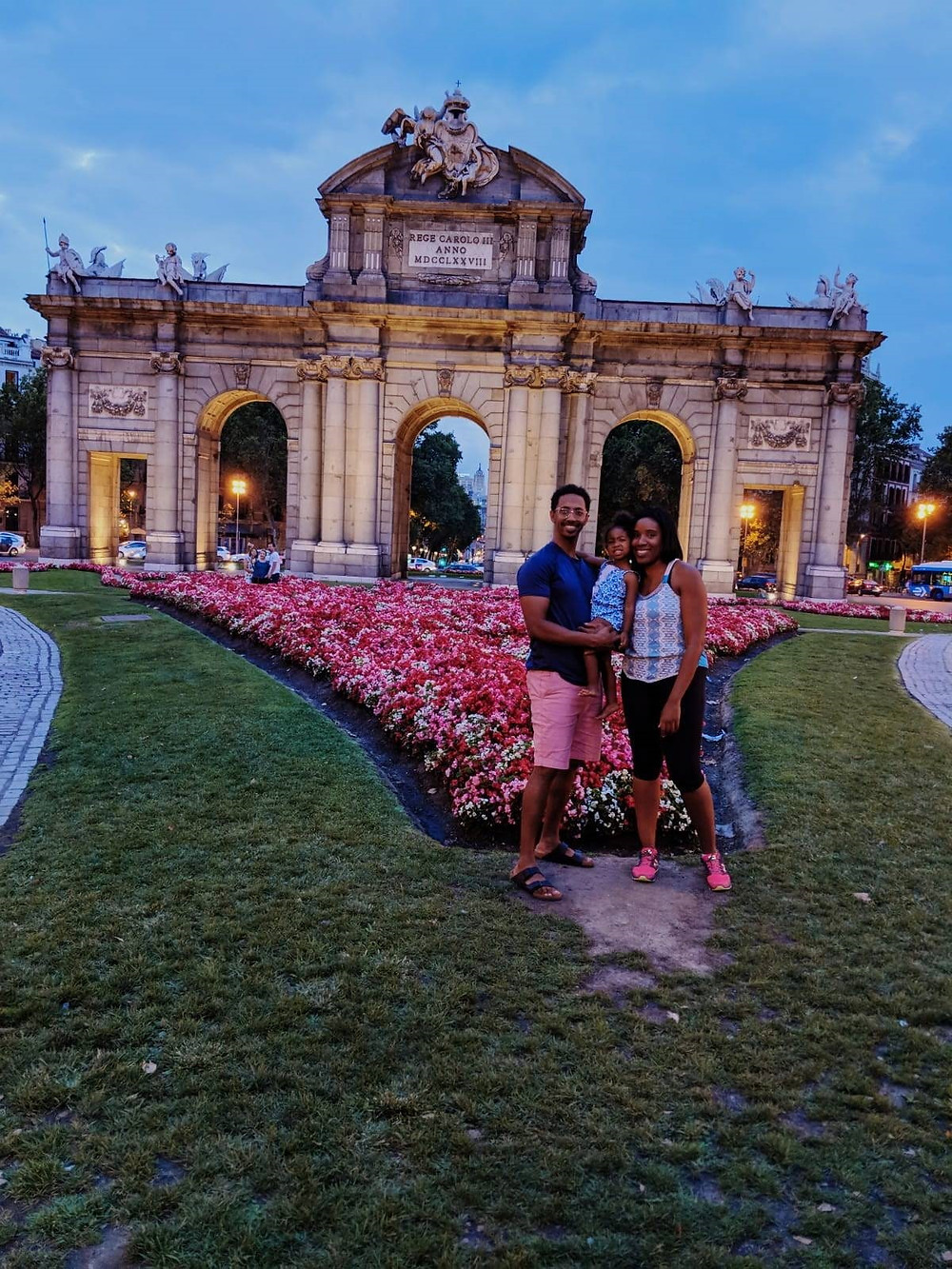Ms. Staley-Ngomo in Madrid with her partner and daughter