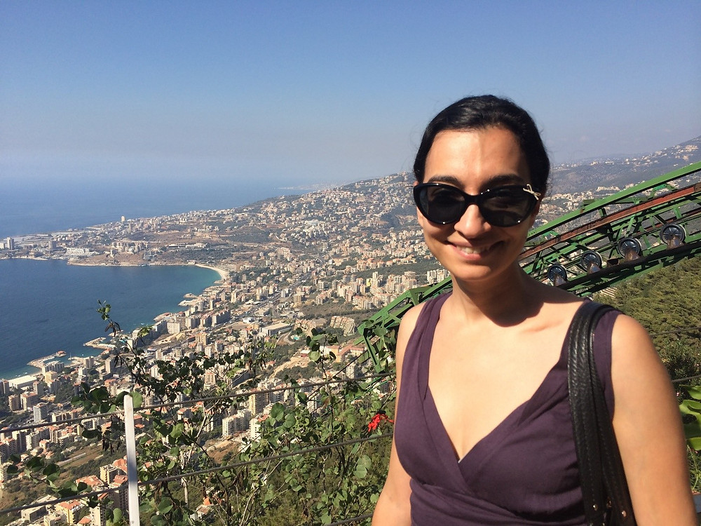 Mitra atop the mountain at the Teleferique Cable Car, Jounieh, Lebanon in 2015.