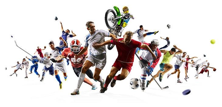 Huge multi sports collage soccer basketb