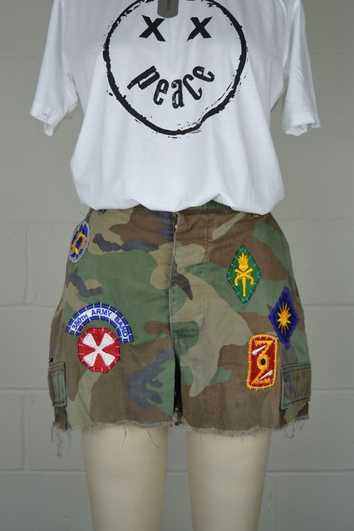 All Patched Up Camo Cutoffs