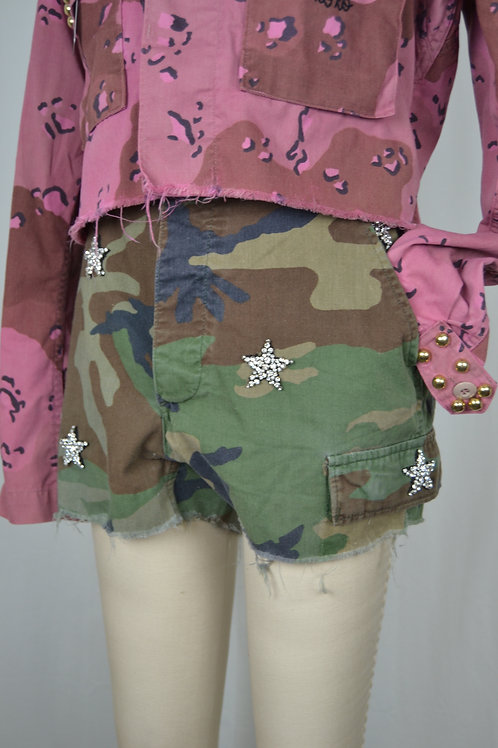 Embellished Star Camo Cutoffs