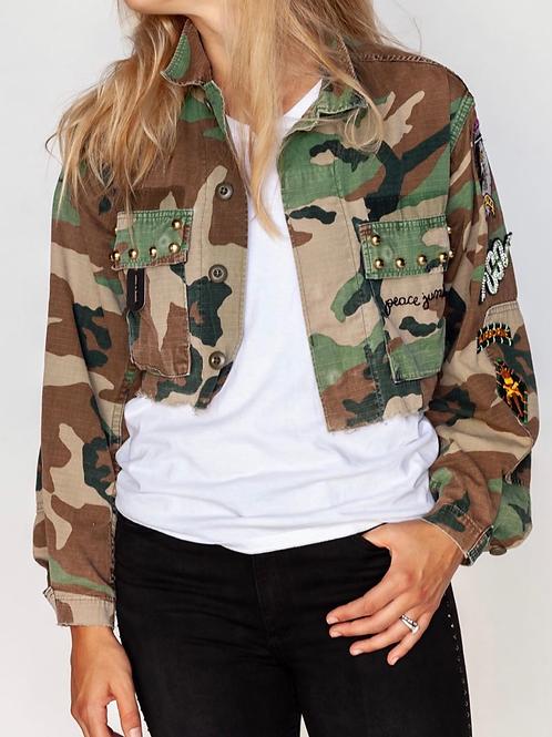 Studded Cropped Camo Jungle Jacket