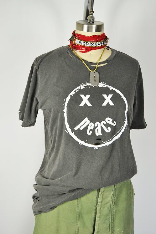 Smiley Peace Tee - washed black