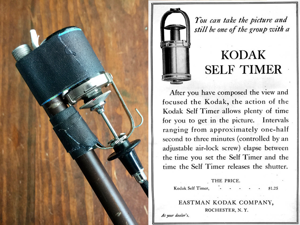"""Dear Kodak, define """"plenty of time""""... After trying many ways to trip the shutter on this beast of a camera, I finally got one to work. The 1918 Kodak, pneumatic self-timer.  I tried many vintage wind up shutter releases that had wonderful timing systems that would have made for much easier shoots, but none of them were tough enough to press the shutter release.   In order for the timer to work, I had to use a short cable release, but it wouldn't work unless it was going straight down into the shutter button so I rigged up a pole mount! I found a screw-together, metal pole and taped on the timer so the cord would go straight down. I use velcro strips to attach it to the hand grips of the camera.  I have cleaned and oiled this little contraption and it still will only fire off either really fast, or set precariously close to being too tight to plunge all the way, therefore making me run back and forth to the camera to recock it when I can tell it's hung up.   That red dot is nail polish- indicating about where I need to try setting it. Sometimes I have about 6 seconds to run into place, sometimes maybe 30. I never know. It's part of the fun."""
