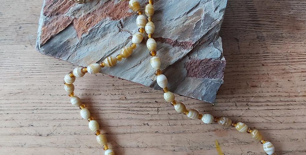 Vintage golden glass beads