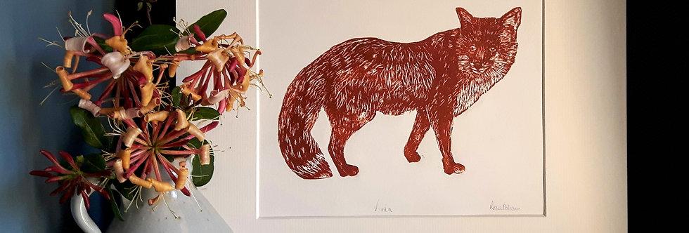 'Vixen' - handprinted linocut