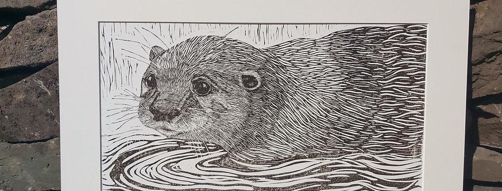 'Water's Edge' - handprinted linocut