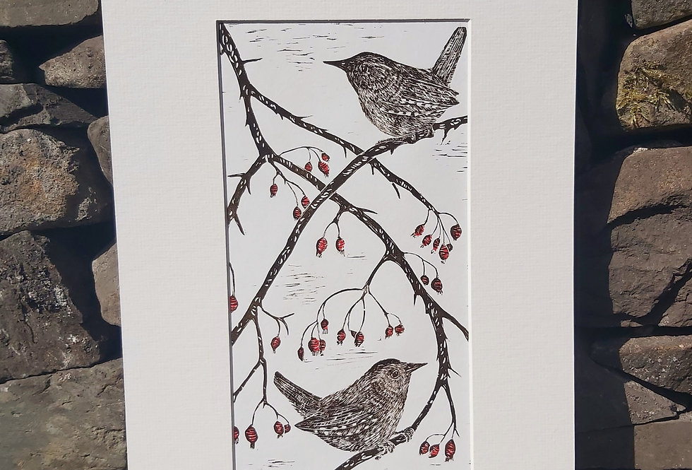 'Winter's Approach' - limited edition handprinted linocut