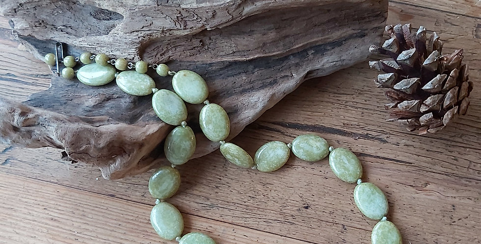 Green Marble Oval Beads