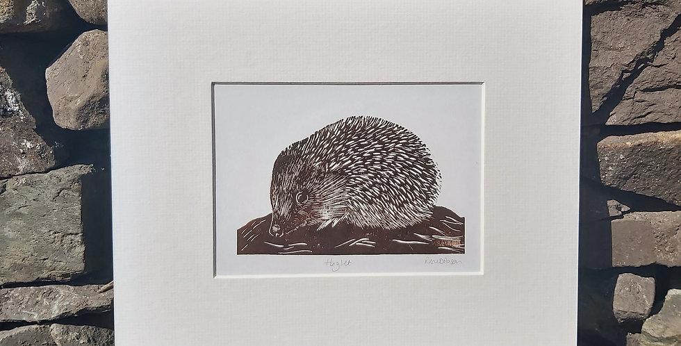 'Hoglet' - handprinted linocut