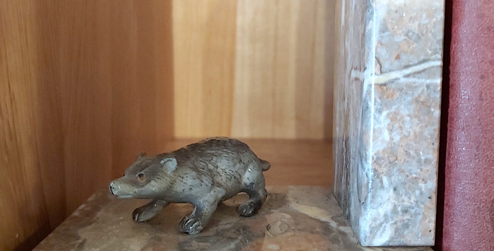 Spelter badger and marble vintage bookends